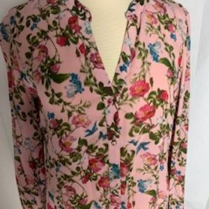 Kut From The Kloth (KUT) Pink Floral Blouse Size L